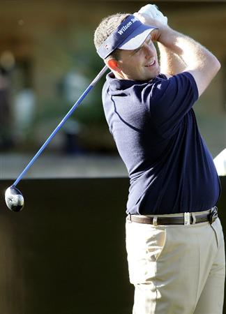 PERTH, AUSTRALIA - FEBRUARY 18: Anthony Wall of England tees off during the Pro-Am event as a preview for the 2009 Johnnie Walker Classic tournament at the Vines Resort and Country Club on February 18, 2009 in Perth, Australia.  (Photo by Paul Kane/Getty Images)