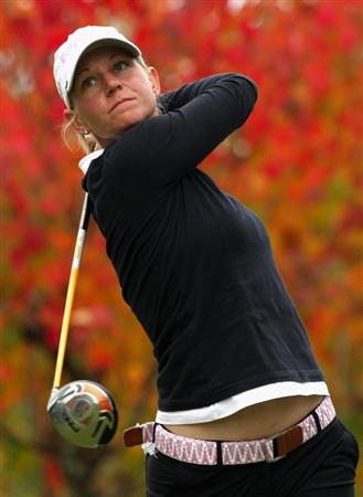 SHIMA, JAPAN - NOVEMBER 07:  Louise Friberg of Sweden makes a tee shot on the second hole during the first round of 2008 Mizuno Classic at Kintetsu Kashikojima Country Club on November 7, 2008 in Shima, Mie, Japan.  (Photo by Koichi Kamoshida/Getty Images)