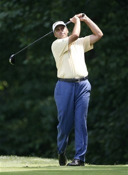 BETHESDA, MD - JULY 4: Rocco Mediate hits his tee shot on the 14th hole during the second round of the AT&T National at Congressional Country Club on July 4, 2008 in Bethesda, Maryland. (Photo by Hunter Martin/Getty Images)