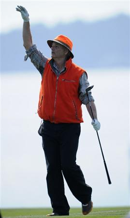 PEBBLE BEACH, CA - FEBRUARY 13:  Actor Bill Murray gestures during the final round of the AT&T Pebble Beach National Pro-Am at Pebble Beach Golf Links on February 13, 2011  in Pebble Beach, California.  (Photo by Stuart Franklin/Getty Images)