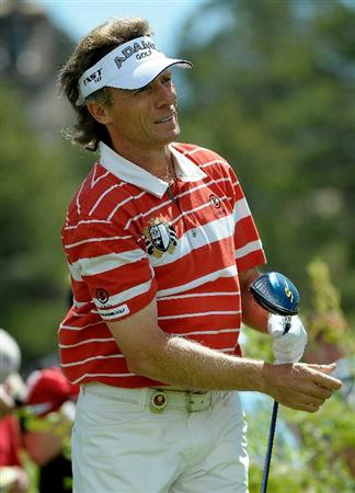 PARKER, CO. - MAY 27:   Bernhard Langer of Germany tees off the 16th hole during the first round of the Senior PGA Championship at the Colorado Golf Club  on May 27, 2010 in Parker, Colorado.  (Photo by Marc Feldman/Getty Images)