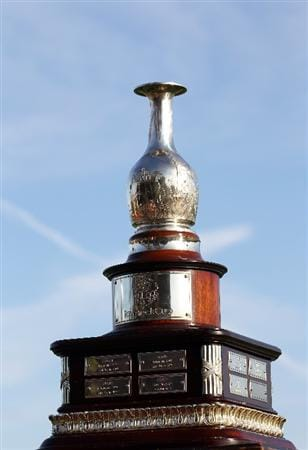 ORLANDO, FL - MARCH 14:  The trophy is displayed on the first tee during the first day of the Tavistock Cup at Isleworth Country Club on March 14, 2011 in Orlando, Florida.  (Photo by Sam Greenwood/Getty Images)