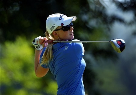 EVIAN, FRANCE - JULY 24:  Morgan Pressel of USA hits her tee-shot on the seventh hole during the first round of the Evian Masters at the Evian Masters Golf Club on July 24, 2008 in Evian, France.  (Photo by Andrew Redington/Getty Images)