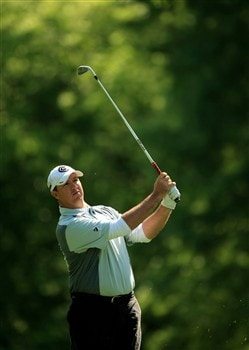 CHARLOTTE, NC - MAY 01:  Boo Weekley plays into the 11th green during the first round of the Wachovia Championship at Quail Hollow Country Club on May 1, 2008 Charlotte, North Carolina.  (Photo by Richard Heathcote/Getty Images)