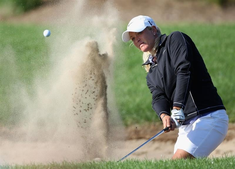 SPRINGFIELD, IL - JUNE 06: Suzann Pettersen of Norway chips out of the bunker onto the16th hole green during the third round of the LPGA State Farm Classic golf tournament at Panther Creek Country Club on June 6, 2009 in Springfield, Illinois. (Photo by Christian Petersen/Getty Images)