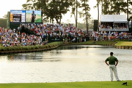 PONTE VEDRA BEACH, FL - MAY 11:  Paul Goydos watches play on the 17th green during the final round of THE PLAYERS Championship on THE PLAYERS Stadium Course at TPC Sawgrass on May 11, 2008 in Ponte Vedra Beach, Florida.  (Photo by Scott Halleran/Getty Images)