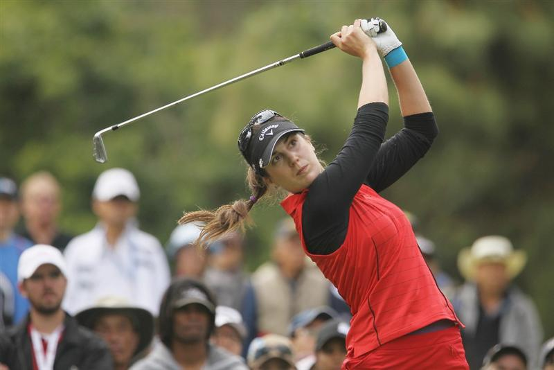 CITY OF INDUSTRY, CA - MARCH 27:  Sandra Gal of Germany hits her tee shot on the eighth hole during the final round of the Kia Classic on March 27, 2011 at the Industry Hills Golf Club in the City of Industry, California.  (Photo by Scott Halleran/Getty Images)