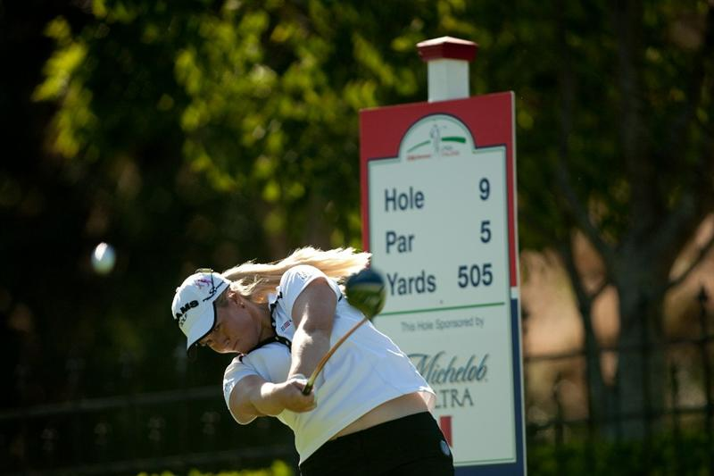 DANVILLE, CA - OCTOBER 15: Brittany Lincicome follows through on a tee shot during the second round of the CVS/Pharmacy LPGA Challenge at Blackhawk Country Club on October 15, 2010 in Danville, California. (Photo by Darren Carroll/Getty Images)
