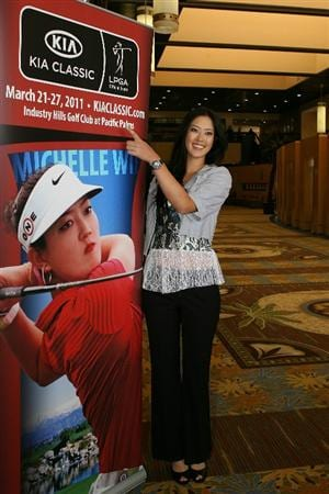 LOS ANGELES, CA - SEPTEMBER 18:  Michelle Wie arrives for a press conference to announce the Kia Classic LPGA event to be held in March of 2011 on September 18, 2010 at Industry Hills Golf Club at Pacific Palms in City of Industry, California.  (Photo by Jeff Golden/Getty Images)