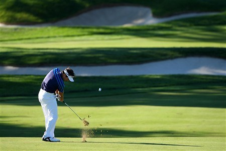 BLOOMFIELD HILLS, MI - AUGUST 08:  Trevor Immelman of South Africa plays a shot on the 12th hole during round two of the 90th PGA Championship at Oakland Hills Country Club on August 8, 2008 in Bloomfield Township, Michigan.  (Photo by Stuart Franklin/Getty Images)