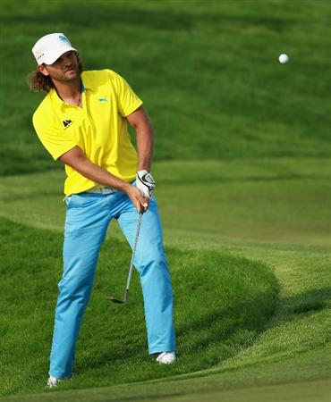 BAHRAIN, BAHRAIN - JANUARY 30:  Johan Edfors of Sweden in action during the final round of the Volvo Golf Champions at The Royal Golf Club on January 30, 2011 in Bahrain, Bahrain.  (Photo by Andrew Redington/Getty Images)