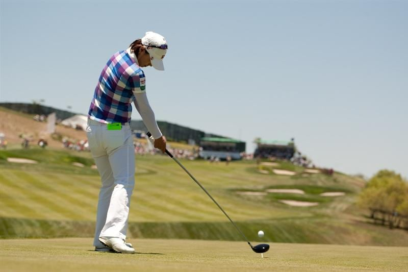 MORELIA, MEXICO - MAY 2: Na Yeon Choi of South Korea plays a tee shot during the fourth round of the Tres Marias Championship at the Tres Marias Country Club on May 2, 2010 in Morelia, Mexico. (Photo by Darren Carroll/Getty Images)