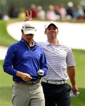 AUGUSTA, GA - APRIL 07:  Paul Casey of England holds rabbit ears behind Justin Rose of England during the first day of practice prior to the start of the 2008 Masters Tournament at Augusta National Golf Club on April 7, 2008 in Augusta, Georgia.  (Photo by Andrew Redington/Getty Images)