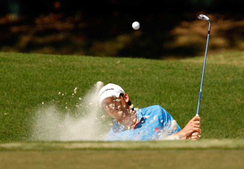 ATLANTA - SEPTEMBER 25:  Sergio Garcia of Spain hits from out of the sand on the 2nd hole during the first round of THE TOUR Championship at East Lake Golf Club on September 25, 2008 in Atlanta, Georgia.  (Photo by Streeter Lecka/Getty Images)