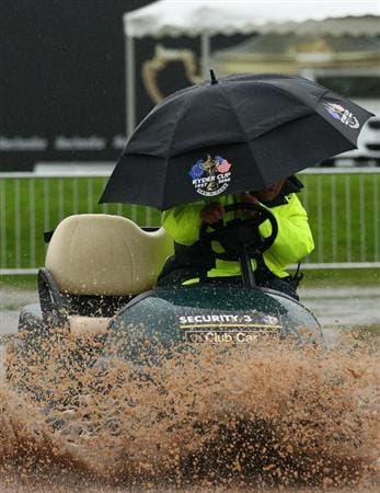 NEWPORT, WALES - OCTOBER 03:  A security cart passes through the mud during the weather delay prior to the restart of the Fourball & Foursome Matches during the 2010 Ryder Cup at the Celtic Manor Resort on October 3, 2010 in Newport, Wales.
