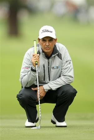 SAN FRANCISCO - NOVEMBER 05: Tom Pernice Jr. lines up a putt on the 2nd hole during round 2 of the Charles Schwab Cup Championship at Harding Park Golf Course on November 5, 2010 in San Francisco, California.  (Photo by Ezra Shaw/Getty Images)