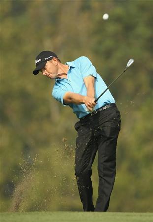 HONG KONG - NOVEMBER 19:  Soren Hansen of Denmark in action during day two of the UBS Hong Kong Open at The Hong Kong Golf Club on November 19, 2010 in Hong Kong, Hong Kong.  (Photo by Ian Walton/Getty Images)