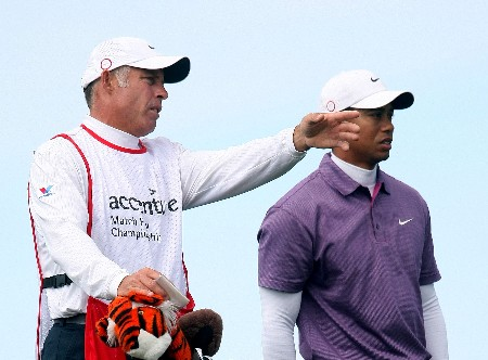 MARANA, AZ - FEBRUARY 23:  Tiger Woods chats with his caddie Steve Williams on the 15th hole during the quarterfinal matches of the WGC-Accenture Match Play Championship at The Gallery at Dove Mountain on February 23, 2008 in Marana, Arizona.  (Photo by Scott Halleran/Getty Images)