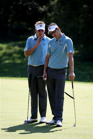 LOUISVILLE, KY - SEPTEMBER 18:  Ian Poulter and Justin Rose of the European team look over a green during a practice round prior to the 2008 Ryder Cup at Valhalla Golf Club on September 18, 2008 in Louisville, Kentucky.  (Photo by Ross Kinnaird/Getty Images)