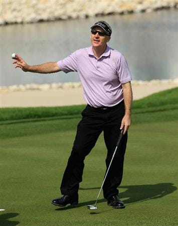 BAHRAIN, BAHRAIN - JANUARY 30:  Phillip Price of Wales in action during the final round of the Volvo Golf Champions at The Royal Golf Club on January 30, 2011 in Bahrain, Bahrain.  (Photo by Andrew Redington/Getty Images)