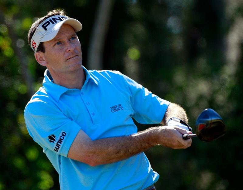 LAKE BUENA VISTA, FL - NOVEMBER 14:  Mark Wilson watches his shot on the 4th hole during the final round of the Children's Miracle Network Classic at the Disney Magnolia course on November 14, 2010 in Lake Buena Vista, Florida.  (Photo by Sam Greenwood/Getty Images)