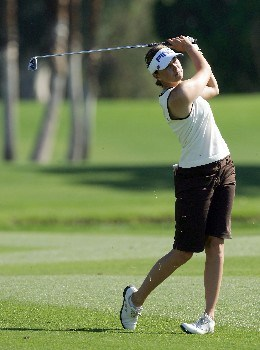 RANCHO MIRAGE, CA - MARCH 30: Stacy Prammanasudh of the U.S. hits her second shot at the par 5, 18th hole during the second round of the 2007 Kraft Nabisco Championship held at Mission Hills Country Club on March 30, 2007 in Rancho Mirage, California. (Photo by David Cannon/Getty Images)