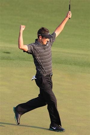 AUGUSTA, GA - APRIL 10:  Charl Schwartzel of South Africa celebrates his two-stroke victory on the 18th green during the final round of the 2011 Masters Tournament at Augusta National Golf Club on April 10, 2011 in Augusta, Georgia.  (Photo by David Cannon/Getty Images)