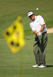 Bruce Lietzke chips on the 12th hole during the second round of the Champions Tour - 2007 Greater Hickory Classic at Rock Barn Golf and Spa on September 15, 2007 in Conover, North Carolina . Champions Tour - 2007 Greater Hickory Classic at Rock Barn - Second RoundPhoto by Mike Ehrmann/WireImage.com