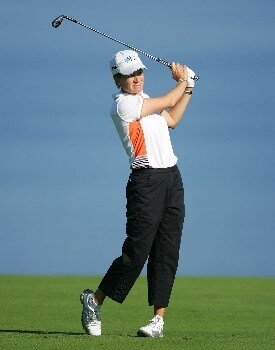 EVIAN, FRANCE - JULY 26:  Catriona Matthew of Scotland hits her second shot on the 5th hole during the first round of The Evian Masters on July 26, 2007 in Evian, France.  (Photo by Andy Lyons/Getty Images)