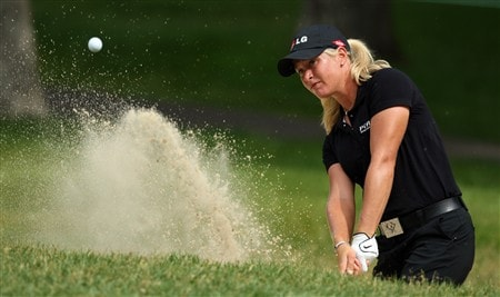 EDINA, MN - JUNE 25:  Suzann Pettersen of Norway plays from the sand at the 14th hole during a practice round prior to the 2008 U.S. Women's Open at Interlachen Country Club on June 25, 2008 in Edina, Minnesot.  (Photo by David Cannon/Getty Images)