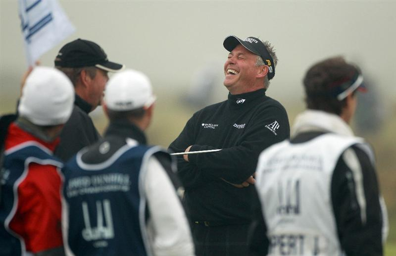 ST ANDREWS, SCOTLAND - OCTOBER 08:  Darren Clarke of Northern Ireland laughs on the third tee during the second round of The Alfred Dunhill Links Championship at The Old Course on October 8, 2010 in St Andrews, Scotland.  (Photo by Warren Little/Getty Images)