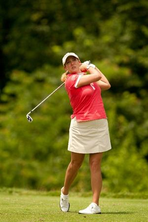 SPRINGFIELD, IL - JUNE 13: Cristie Kerr follows through on a tee shot during the fourth round of the LPGA State Farm Classic at Panther Creek Country Club on June 13, 2010 in Springfield, Illinois. (Photo by Darren Carroll/Getty Images)