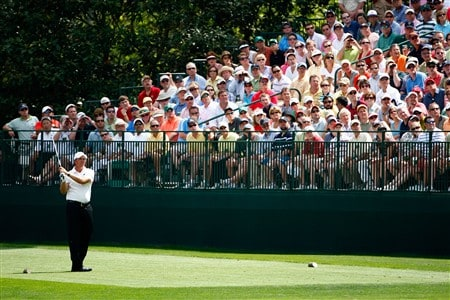AUGUSTA, GA - APRIL 11:  Phil Mickelson watches his tee shot on the 16th hole during the second round of the 2008 Masters Tournament at Augusta National Golf Club on April 11, 2008 in Augusta, Georgia.  (Photo by Jamie Squire/Getty Images)