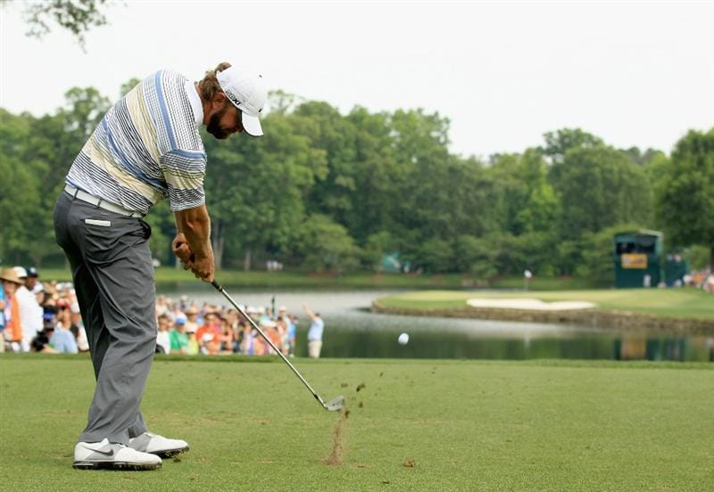 CHARLOTTE, NC - MAY 08:  Lucas Glover hits his tee his shot on the 17th hole during the final round of the Wells Fargo Championship at the Quail Hollow Club on May 8, 2011 in Charlotte, North Carolina.  (Photo by Streeter Lecka/Getty Images)