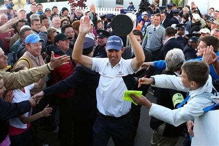 SOUTHPORT, UNITED KINGDOM - JULY 20:  Padraig Harrington of the Republic of Ireland walks through the crowds with the Claret Jug after winning by 4 strokes during the final round of the 137th Open Championship on July 20, 2008 at Royal Birkdale Golf Club, Southport, England.  (Photo by Richard Heathcote/Getty Images)