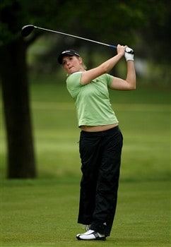 CLIFTON, NJ - MAY 15:  Anna Grzebien hits her tee shot on the fifth hole during the first round of the Sybase Classic presented by ShopRite on May 15, 2008 at the Upper Montclair Country Club in Clifton, New Jersey.  (Photo by Travis Lindquist/Getty Images)