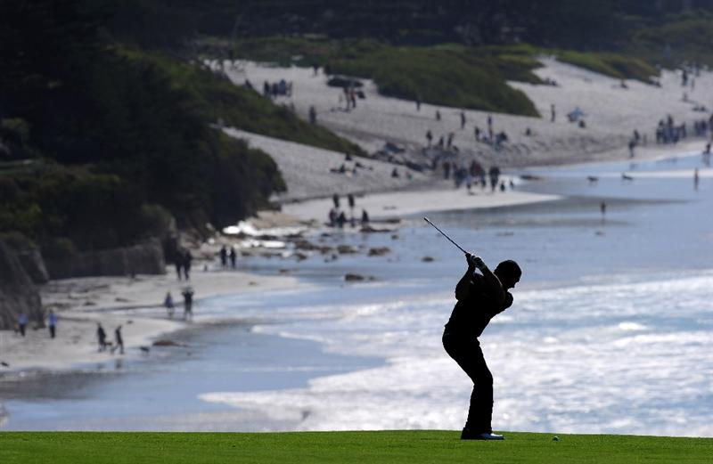 PEBBLE BEACH, CA - FEBRUARY 14:  Alex Cejka of Germany plays his approach shot on th ninth hole during the final round of the AT&T Pebble Beach National Pro-Am at Pebble Beach Golf Links on February 14, 2010 in Pebble Beach, California.  (Photo by Stuart Franklin/Getty Images)