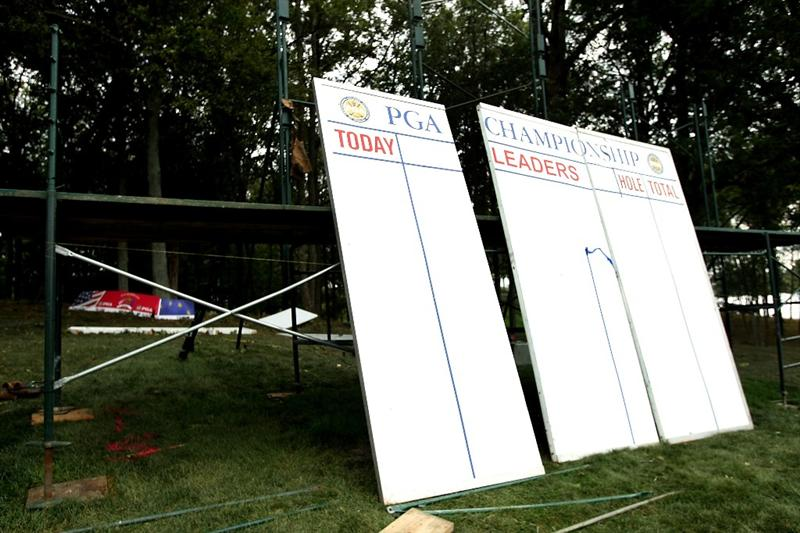 LOUISVILLE, KY - SEPTEMBER 15:  Score boards are seen after being blown over prior to the 2008 Ryder Cup at Valhalla Golf Club of September 15, 2008 in Louisville, Kentucky.  (Photo by Harry How/Getty Images)