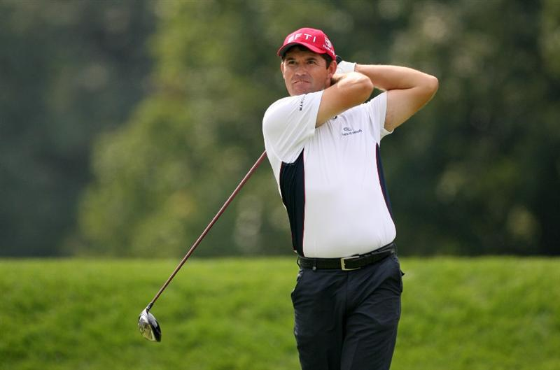 LEMONT, IL - SEPTEMBER 12: Padraig Harrington watches his tee shot on the fifth hole during the third round of the BMW Championship at Cog Hill Golf & Country Club on September 12, 2009 in Lemont, Illinois. (Photo by Hunter Martin/Getty Images)