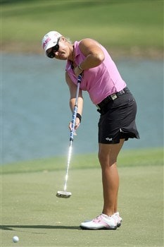 RANCHO MIRAGE, CA - APRIL 5:  Maria Hjorth of Sweden lines up a putt at the fifth green during the third round of the Kraft Nabisco Championship at the Mission Hills Country Club April 5, 2008 in Rancho Mirage, California.  (Photo by David Cannon/Getty Images)