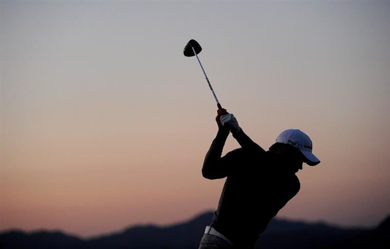MARANA, AZ - FEBRUARY 20:  Camilo Villegas of Columbia hits a shot prior to round four of the Accenture Match Play Championship at the Ritz-Carlton Golf Club on February 20, 2010 in Marana, Arizona.  (Photo by Stuart Franklin/Getty Images)