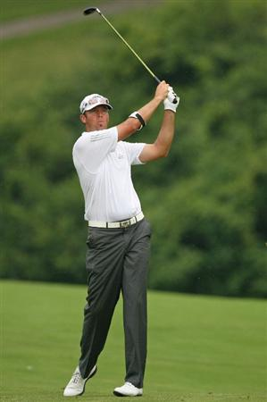 COLUMBUS, OH - JULY 30:  Rich Barcelo hits his second shot on the 11th hole during the first round of the Nationwide Children's Hospital Invitational at The Ohio State Golf Club on July 30, 2009 in Columbus, Ohio. (Photo by Hunter Martin/Getty Images)