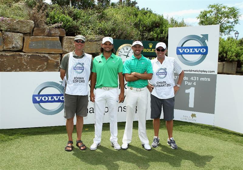 CASARES, SPAIN - MAY 20:  Johan Edfors of Sweden and Charl Schwartzel of South Africa pose for a picture with their caddies on the first hole during the group stages of the Volvo World Match Play Championships at Finca Cortesin on May 20, 2011 in Casares, Spain.  (Photo by Warren Little/Getty Images)
