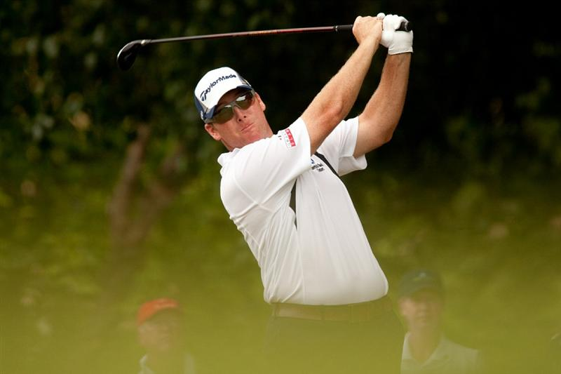 IRVING, TX - MAY 22: D.A. Points follows through on a tee shot during the third round of the HP Byron Nelson Championship at TPC Four Seasons Resort Las Colinas on May 22, 2010 in Irving, Texas. (Photo by Darren Carroll/Getty Images)