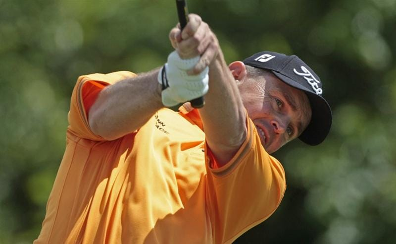 AVONDALE, LA - APRIL 26: Greg Chalmers of Australia tees off on the 2nd hole during the final round of the Zurich Classic at TPC Louisiana on April 26, 2009  in Avondale, Louisiana. (Photo by Dave Martin/Getty Images)