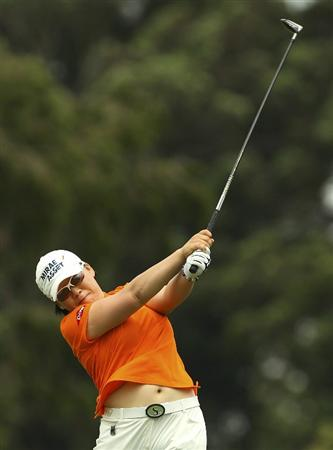 MELBOURNE, AUSTRALIA - FEBRUARY 04:  Jiyai Shin of South Korea plays a shot during day two of the Women's Australian Open at The Commonwealth Golf Club on February 4, 2011 in Melbourne, Australia.  (Photo by Lucas Dawson/Getty Images)
