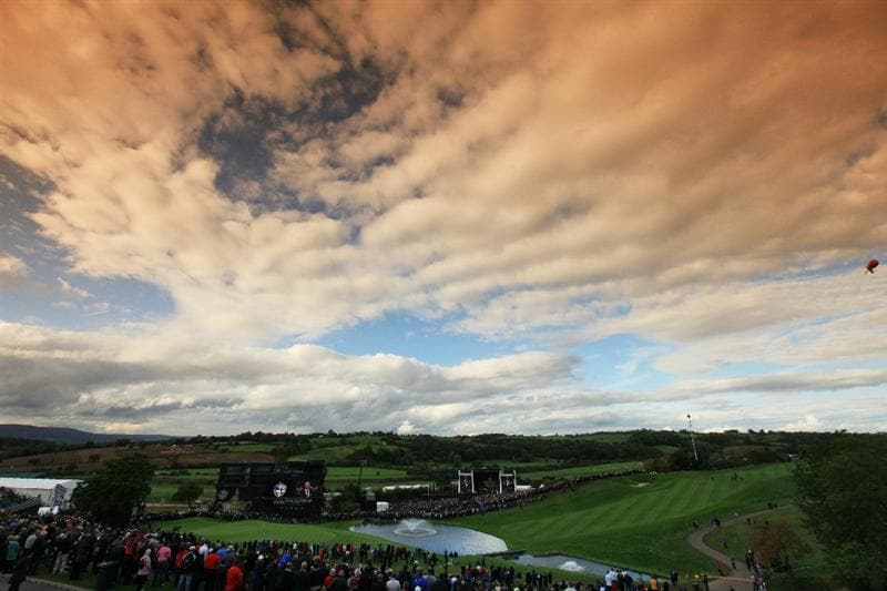 NEWPORT, WALES - SEPTEMBER 30:  (EDITORS NOTE: A graduated tobacco camera filter was used for this image.) General View during the Opening Ceremony prior to the 2010 Ryder Cup at the Celtic Manor Resort on September 30, 2010 in Newport, Wales. (Photo by David Cannon/Getty Images)