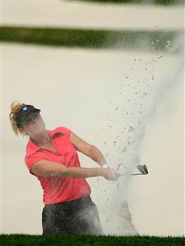 REUNION, FLORIDA - APRIL 17:  Stephanie Sparks, of The Golf Channel, plays a bunker shot on the 17th hole during the first round of the Ginn Open at Reunion Resort April 17, 2008 in Reunion, Florida.  (Photo by Scott Halleran/Getty Images)
