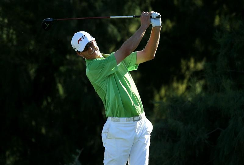 LA QUINTA, CA - JANUARY 21:  John Senden hits his tee shot on the 16th hole during round three of the Bob Hope Classic at the Nicklaus Private Course at PGA West on January 21, 2011 in La Quinta, California.  (Photo by Stephen Dunn/Getty Images)