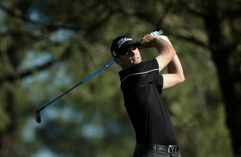 LA JOLLA, CA - JANUARY 28:  Brendan Steele tees off the 5th hole during the second round of the Farmers Insurance Open at Torrey Pines on January 28, 2011 in La Jolla, California. (Photo by Donald Miralle/Getty Images)